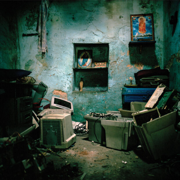 E-waste stored in a home in the Christian Quarter of Chennai. The unregulated recycling industry in India takes place in thousands of extremely small, backyard workshops. Many of these locations are also people's homes. © Sophie Gerrard 2006, all rights reserved.
