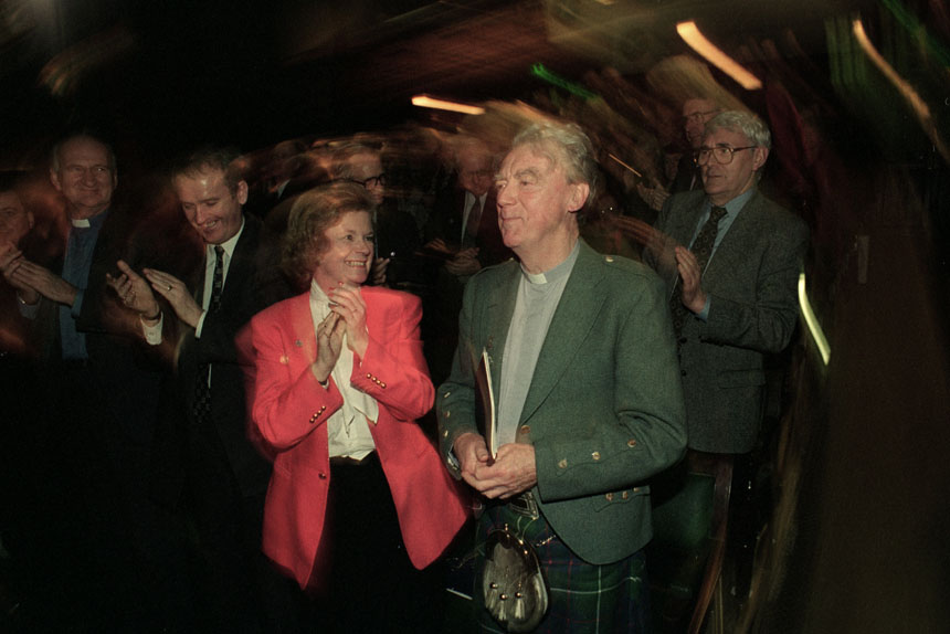 Canon Kenyon Wright receives the applause of delegates to the Scottish Constitutional Convention. © Colin McPherson 1995, all rights reserved.