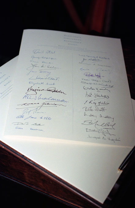 Signatures on the Scottish Constitutional Convention document entitled 'Scotland's Parliament, Scotland's Right',. © Colin McPherson 1995, all rights reserved.
