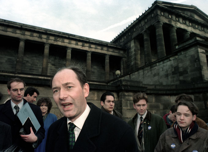 Secretary of State for Scotland and Conservative Party politician Michael Forsyth, pictured outside the former Royal High School building. © Colin McPherson 1995, all rights reserved.