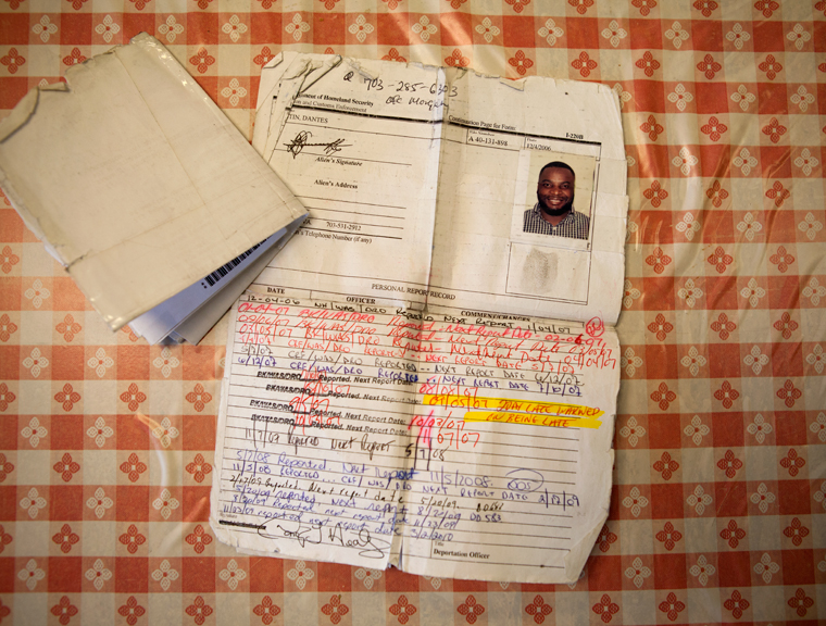 Dante's Immigration Check In Papers. 2013. ©Graham MacIndoe 2013, all rights reserved.