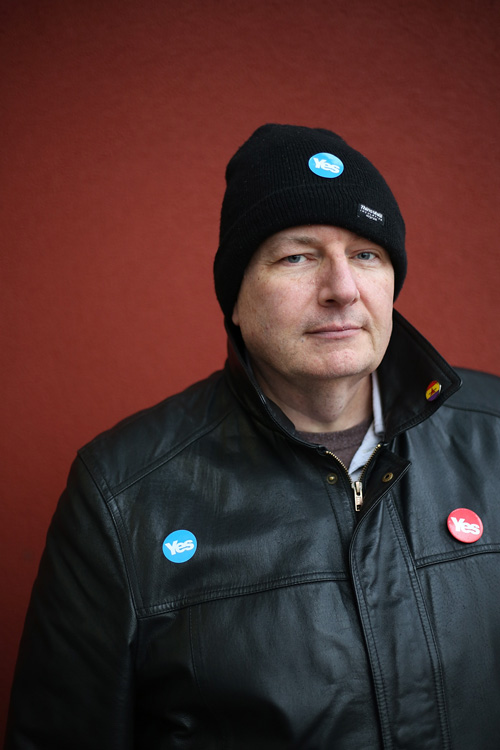 Dave, Yes Scotland campaigner, Glasgow. ©Jeremy Sutton-Hibbert 2014, all rights reserved.