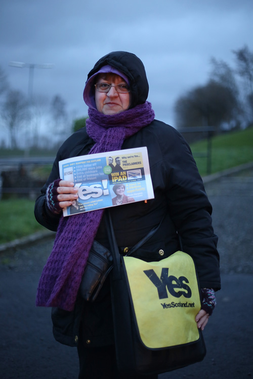 Yes Scotland campaigner, Glasgow. ©Jeremy Sutton-Hibbert 2014, all rights reserved.