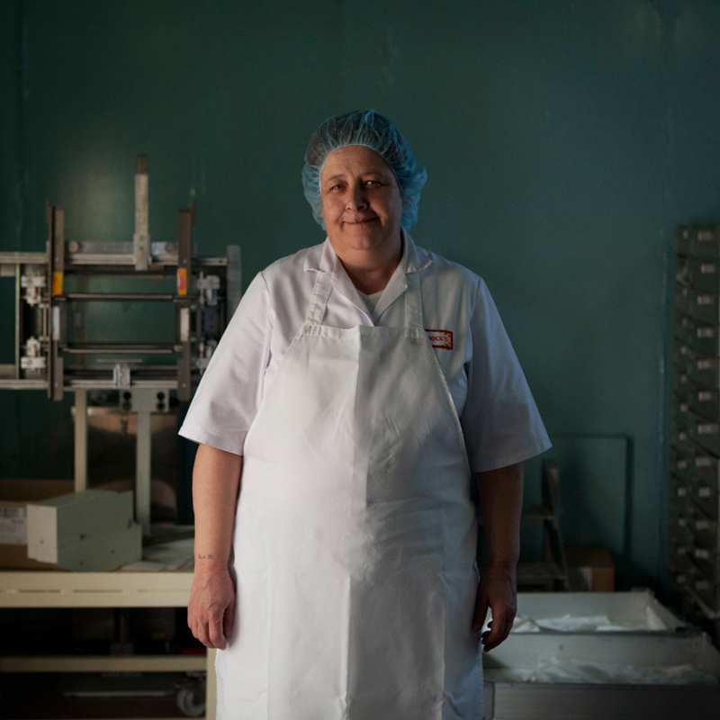 "Liz Cook has worked at Tunnocks for 25 years. ""You have your good days and your bad days like any place but it's a good place to work, especially for Mr Boyd, he's well loved in here. I came here before I finished school. My dad was one of the first van d"