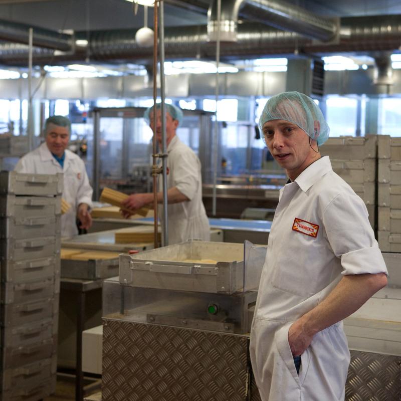 Boys on the Tunnock's Caramel Wafer production line