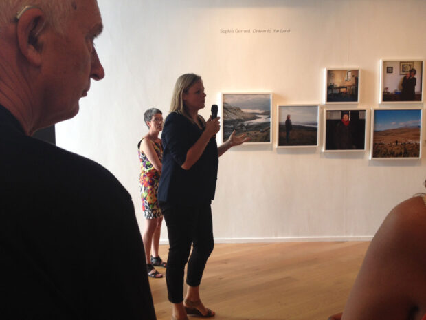 Sophie Gerrard talks to the audience at Impressions Gallery about her body of work 'Drawn To The Land: Women working the Scottish landscape', which is exhibited as part of 'Beyond The Border: New Contemporary Photography from Scotland' on show at Impressions Gallery Bradford 1st July - 27th September 2014. image © Jeremy Sutton-Hibbert July 2014