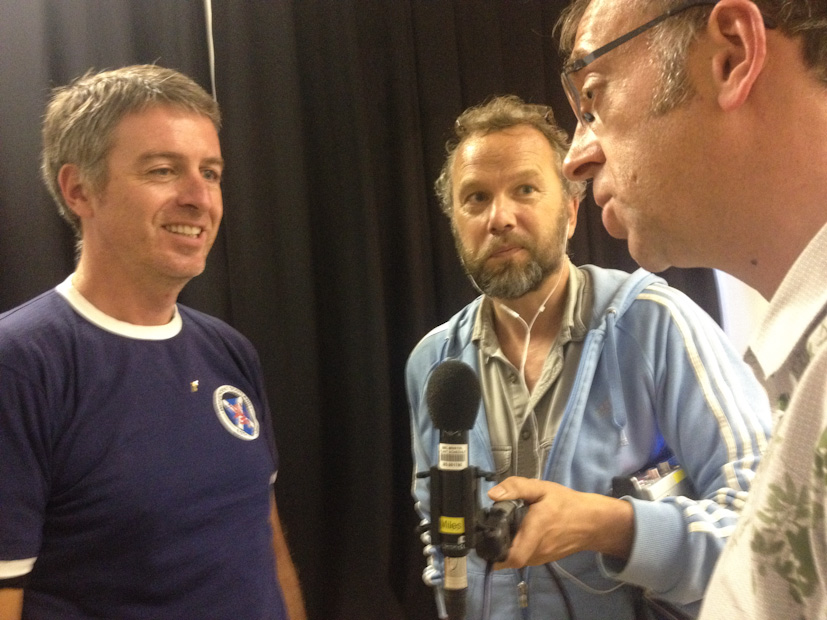 Radio 4's Miles Warde speaks to Stephen McLaren and Colin McPherson, at the Common Ground photography exhibition at Street Level Photoworks,  in Glasgow, Scotland 28 August 2014