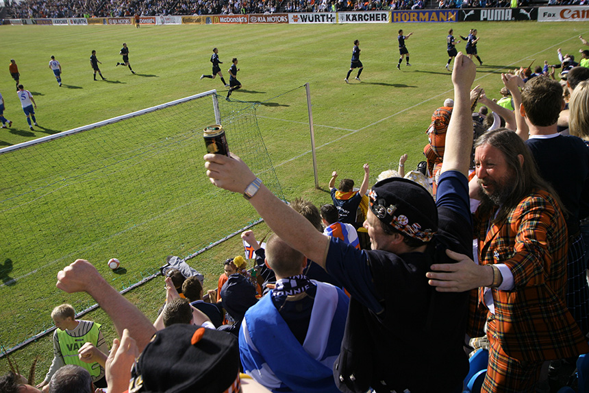 Tartan Army goal celebrations in the Faroe Islands. Photo © Colin McPherson, 2007 all rights reserved.