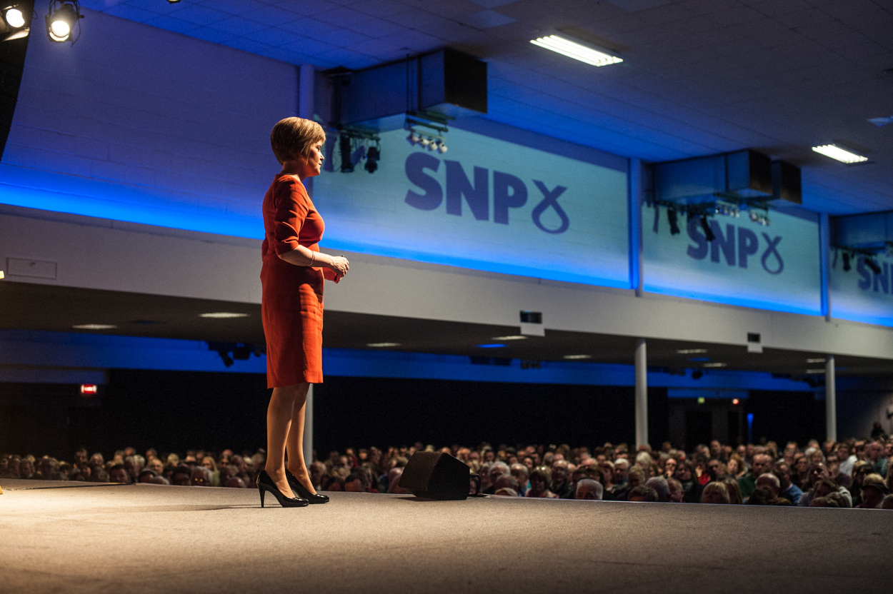 Nicola Sturgeon, on stage at the Corn Exchange, Edinburgh. Photograph © Peter McNally, 2014, all rights reserved.