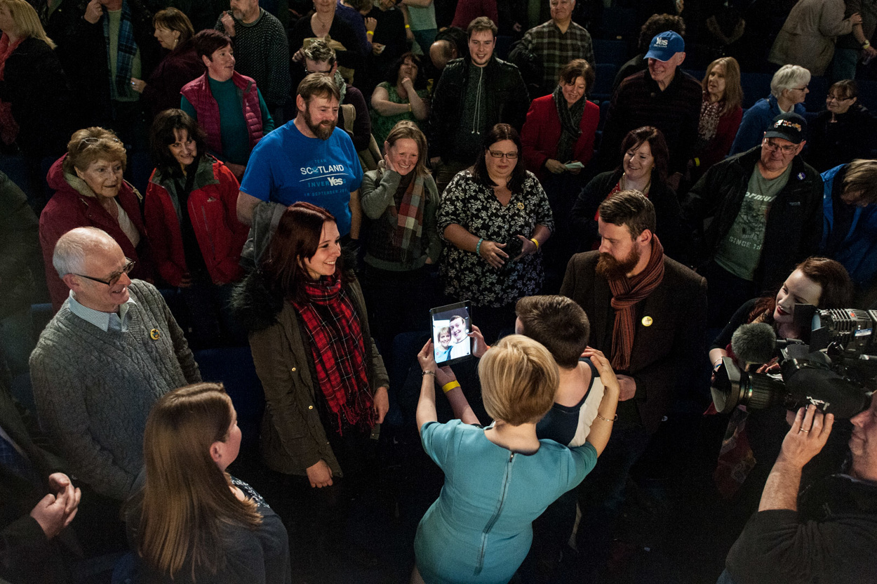 Selfies with supporters, Eden Court Theatre, Inverness. Photograph © Peter McNally, 2014 all rights reserved.