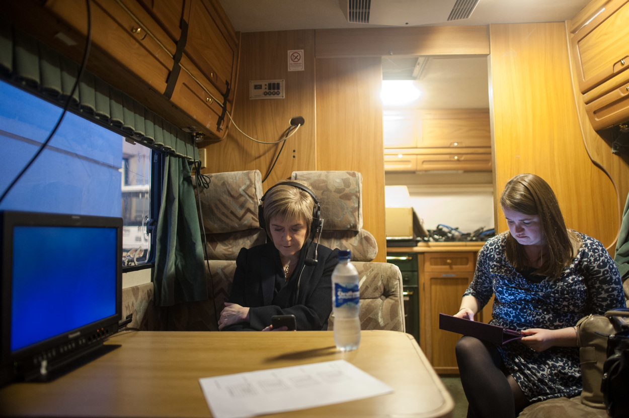 Nicola Sturgeon waiting for an interview inside the BBC radio mobile studio. Photograph © Peter McNally, 2014 all rights reserved.