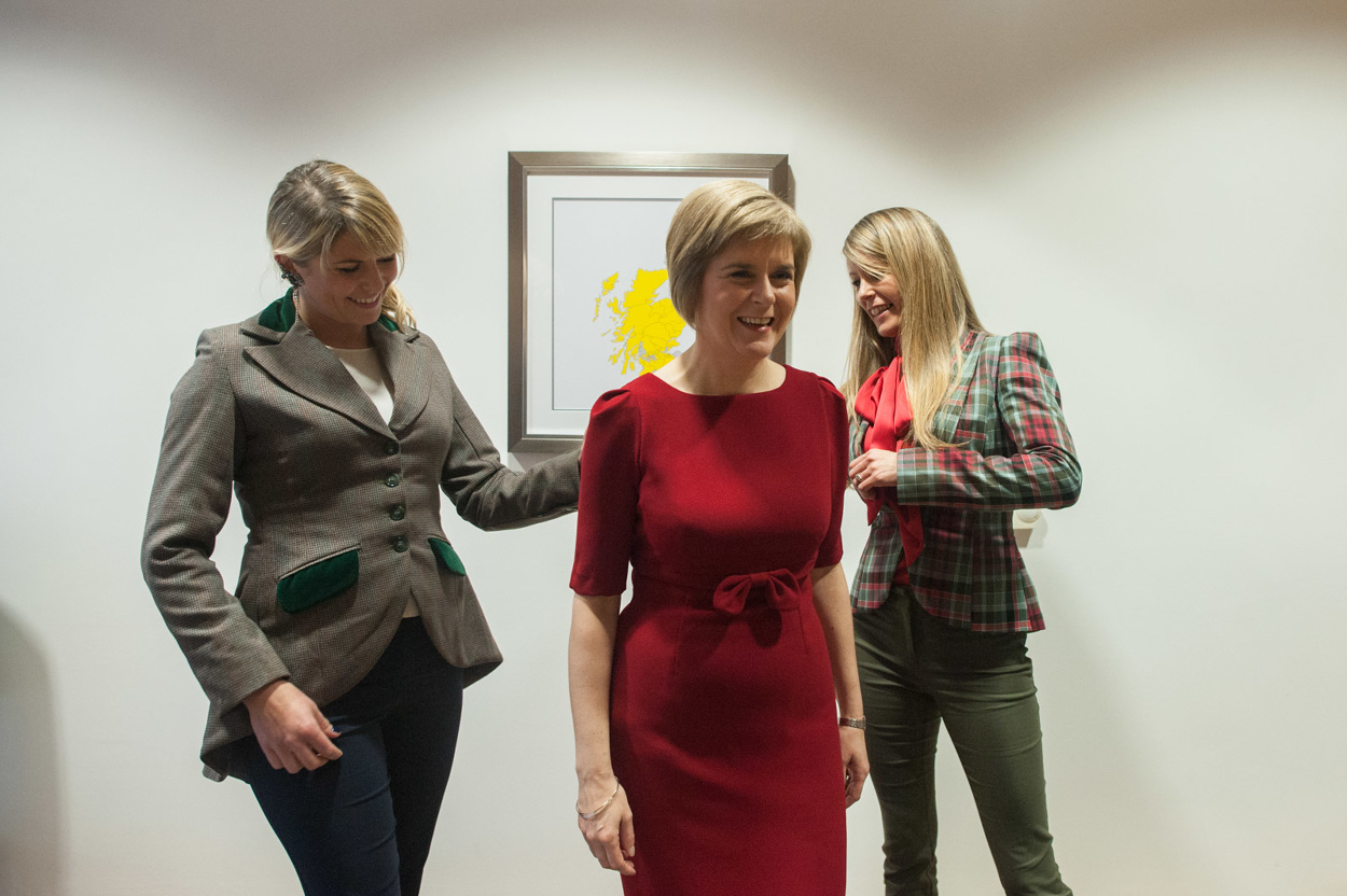 Nicola Sturgeon meets with her dress makers  Totty Rocks before being voted in as Scotland's First Minister. Photograph © Peter McNally, 2014, all rights reserved.