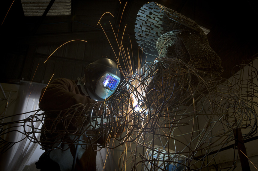 Andy Scott working on 'Steel Man' in his Glasgow studio. Photograph © Colin McPherson, 2014 all rights reserved.