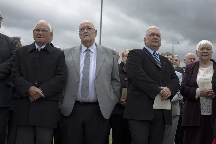 Former steelworkers at the official unveiling of 'Steel Man'. Photograph © Colin McPherson, 2015 all rights reserved.
