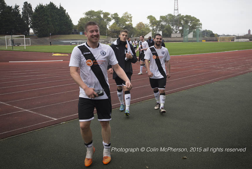Happy Edinburgh City players. Photograph © Colin McPherson, 2015 all rights reserved.