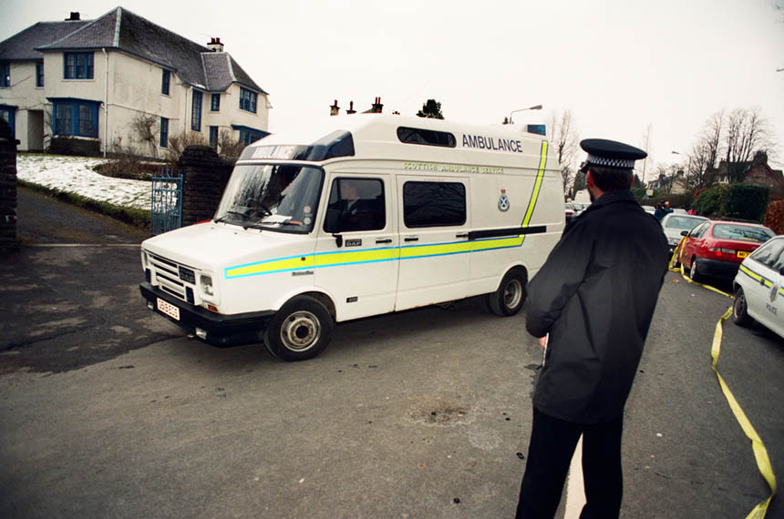 An ambulance arriving at Dunblane primary school. Photograph © Colin McPherson 1996, all rights reserved.