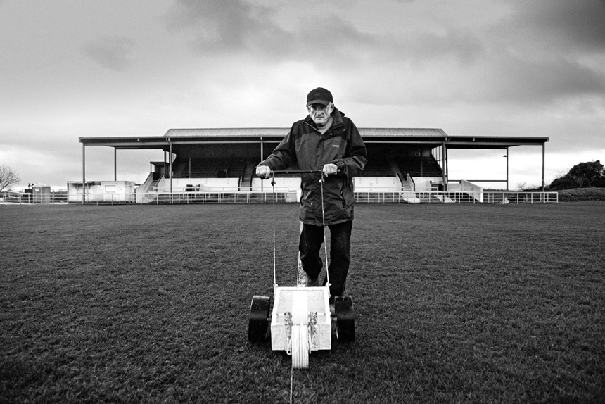 Groundsman, Cliftonhill. Albion Rovers v Montrose, 2014. Photograph © Iain McLean, all rights reserved