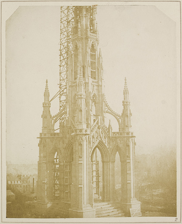 A clean sandstone Scott monument under construction from 'Sun Pictures in Scotland'