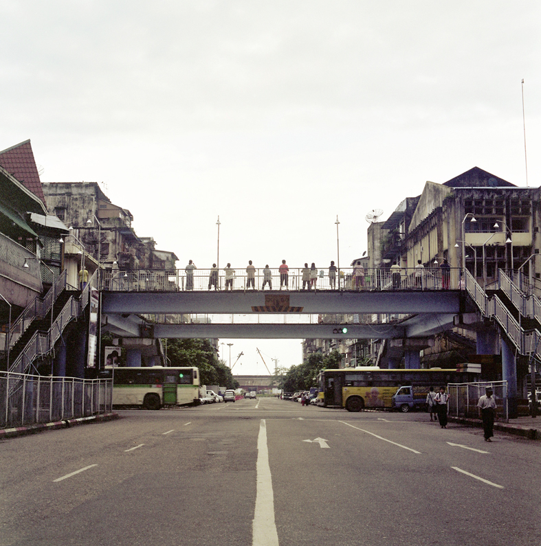 Tai Chi on an overpass in downtown Yangon © Sophie Gerrard all rights reserved
