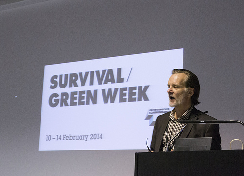 Paul Lowe introduces Survival - the debate on imagery communication and the environmental at Green Week, LCC, London Rebruary 2014. © Lewis Bush 2014 all rights reserved