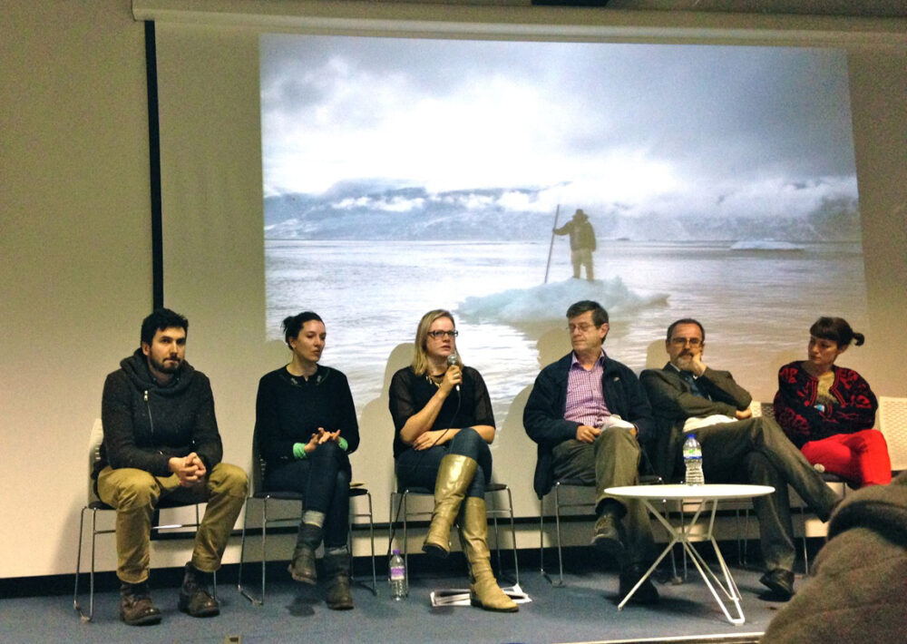 Panel discussion at Survival - the debate on imagery communication and the environmental at Green Week, LCC, London February 2014. © Thomas Ball 2014 all rights reserved