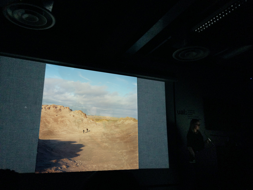 Sophie Gerrard presenting The Dunes to the audience at LCC Green Weel © Thomas Ball 2014 all rights reserved
