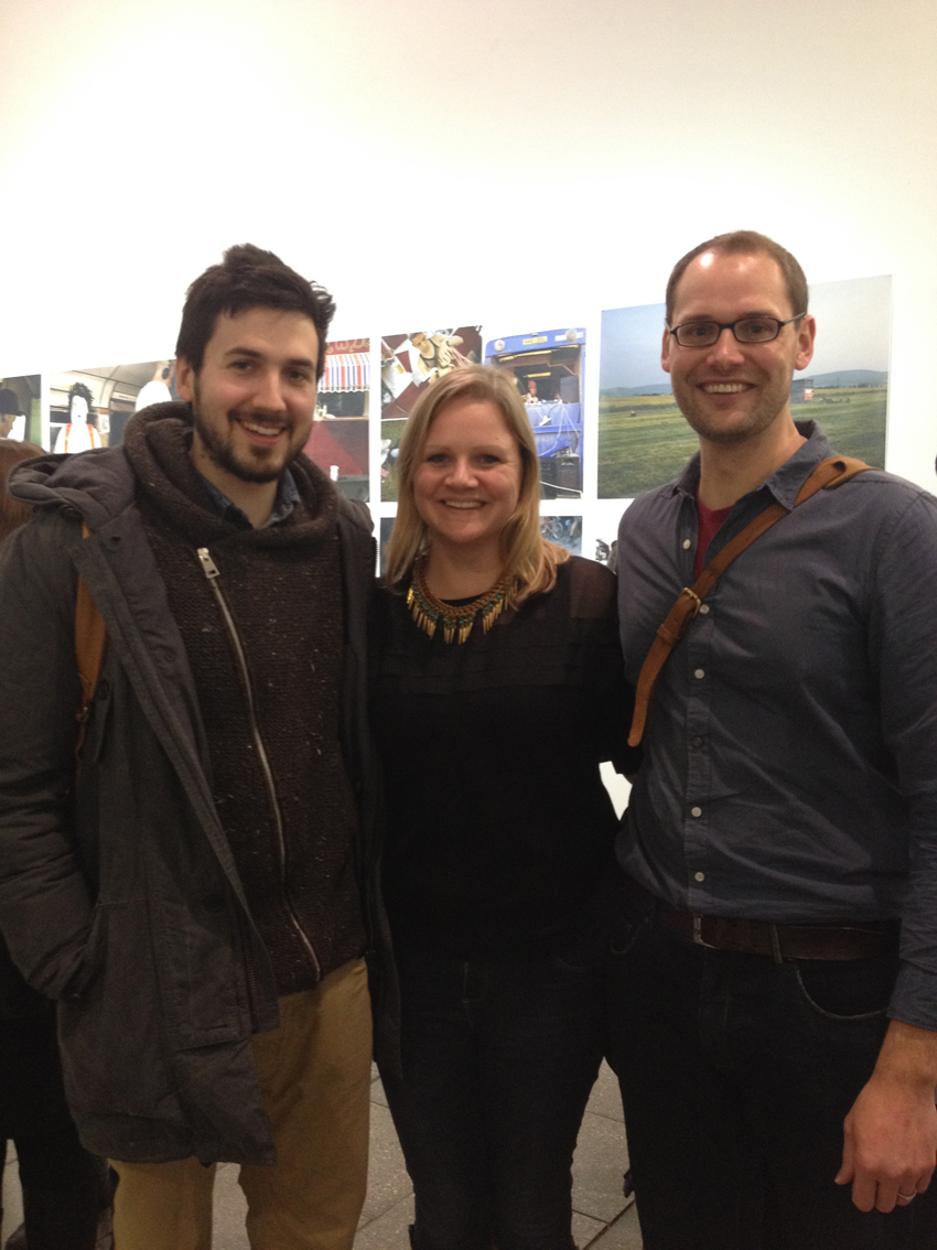 With fellow photographers Thomas Ball and Ciric Jazbec at Survive. An exhibition of photography and The Environment - Green Week LCC, London February 2014 © Lewis Bush all rights reserved