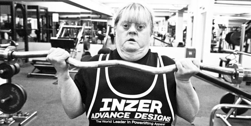 Sylvia 52 a medal winning powerlifter. Photograph © Graham Miller, 2014