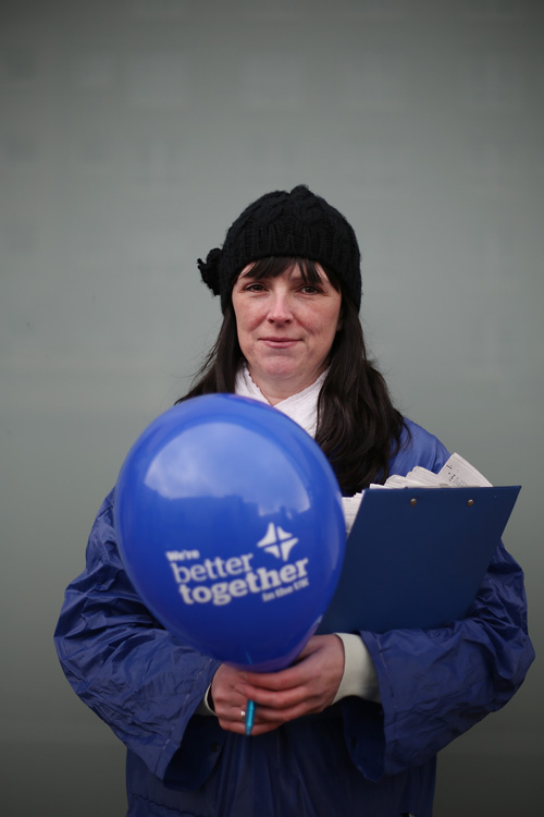 Andrene, Better Together campaigner, Glasgow. ©Jeremy Sutton-Hibbert 2014, all rights reserved.