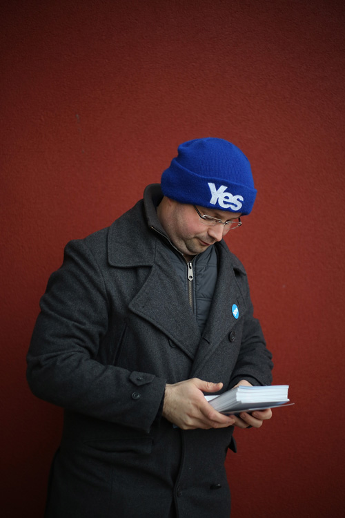 Patrick, Yes Scotland campaigner, Glasgow. ©Jeremy Sutton-Hibbert 2014, all rights reserved.