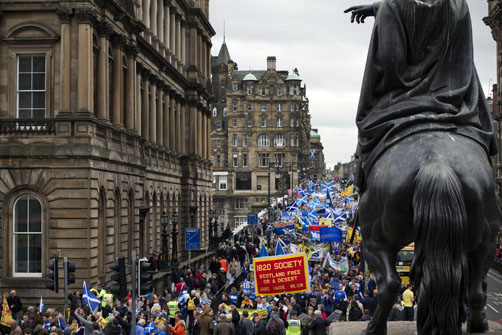 Pro-Independence demo, Edinburgh. Photograph by Colin McPherson, 2013.