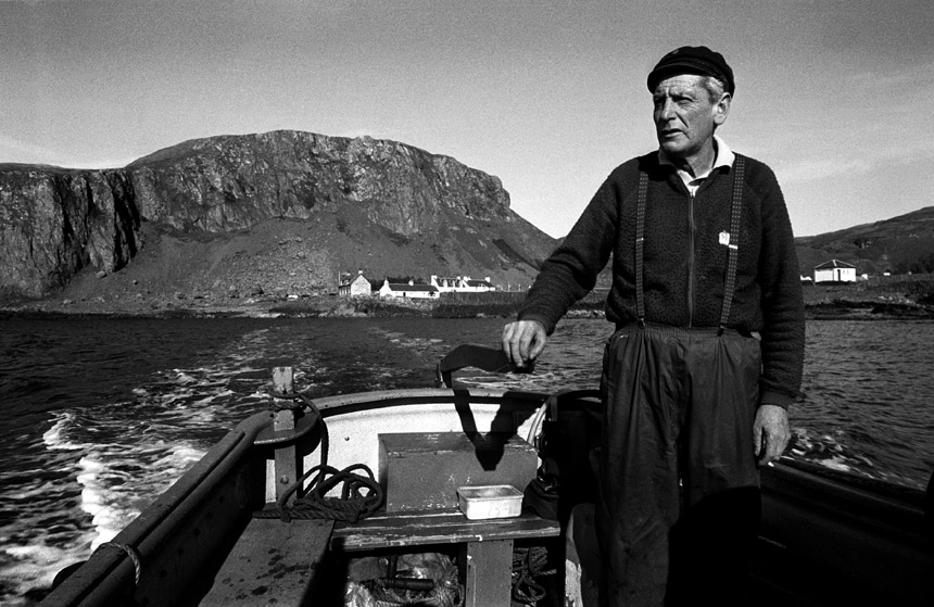 Ferryman, Easdale island, 1989. Photograph © Colin McPherson, all rights reserved.