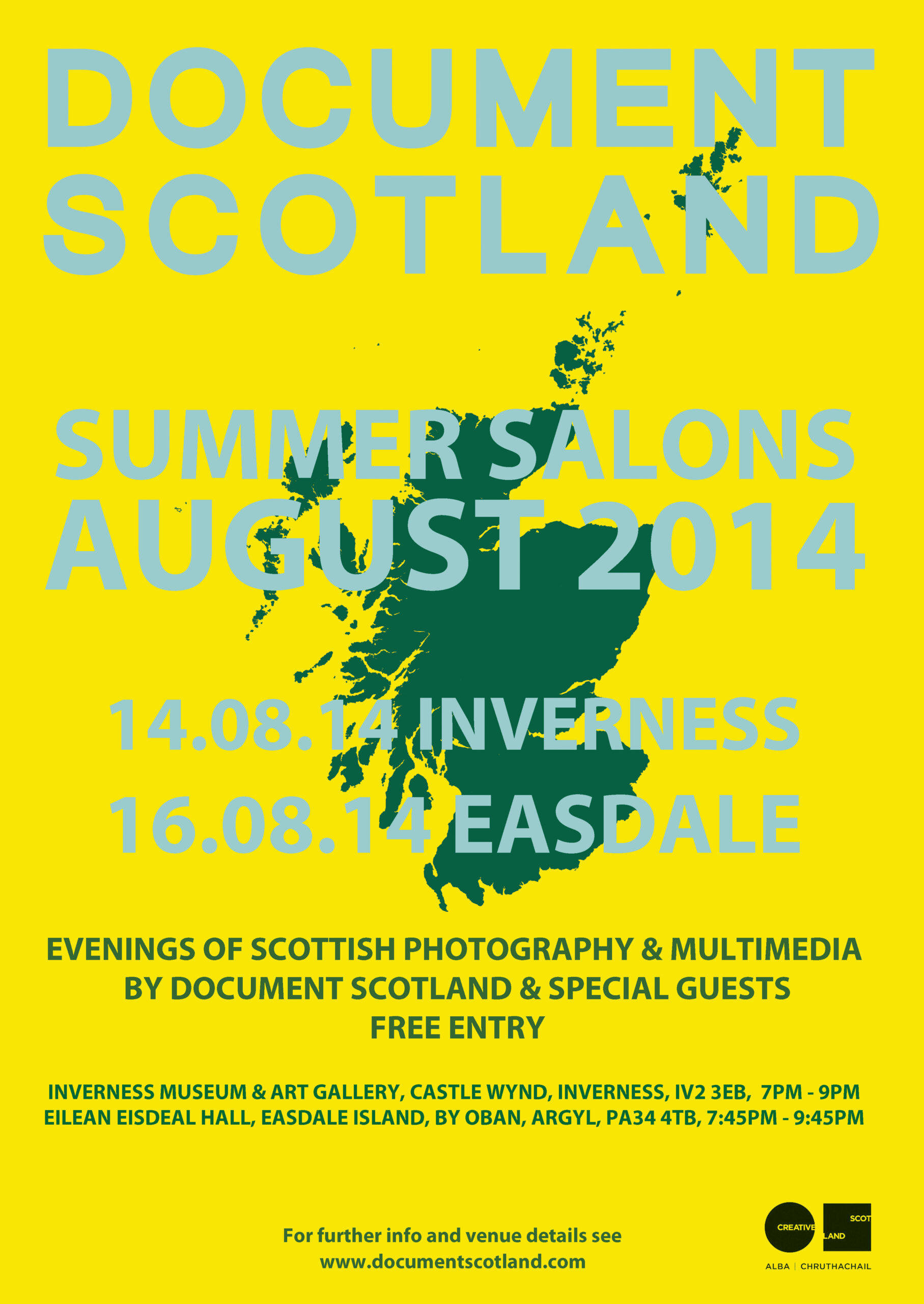 Summer Salon poster blue and yellow