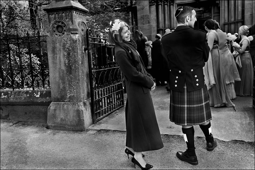 Guests at an orthodox wedding ceremony, Garnethill synagogue, Glasgow. Photograph © Judah Passow, 2013.