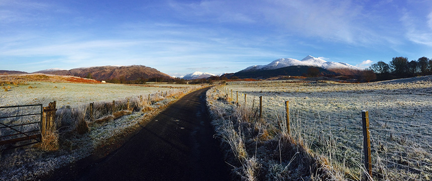 Snow-capped Ben Cruachan seen from Glen Lonan on 28. December 2014 by Colin McPherson.