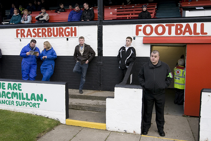 Boiler suits and bouncers at Fraserburgh FC. Photo © Colin McPherson, 2010 all rights reserved.