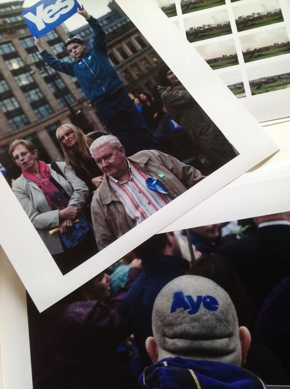 Colin McPherson's prints from the Scottish independence referendum being boxed for the University of St Andrews Special Collection archive. © Document Scotland 2015 all rights reserved.