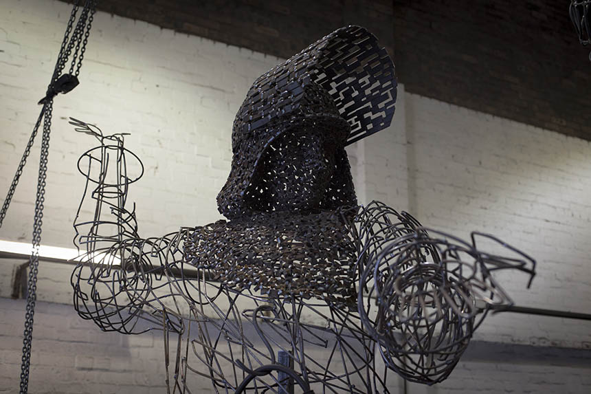 Steel Man taking shape in Andy Scott's studio workshop. Photograph © Colin McPherson 2015, all rights reserved.