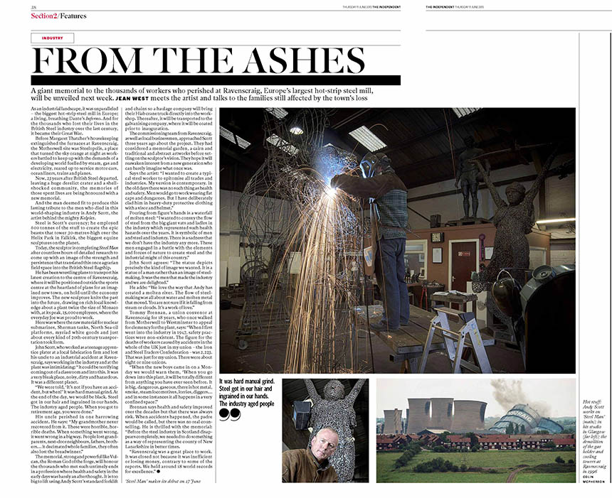 Coverage of the making of Steel Man in the Independent. Photograph © Colin McPherson 2015, all rights reserved.