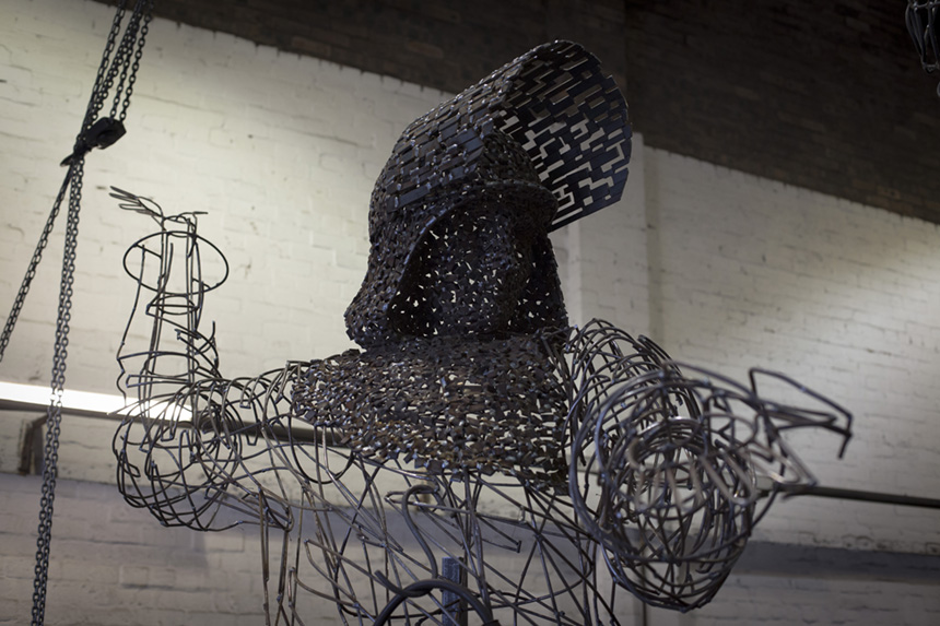 A detail on Andy Scott's 'Steel Man sculpture. Photograph © Colin McPherson, 2014 all rights reserved.