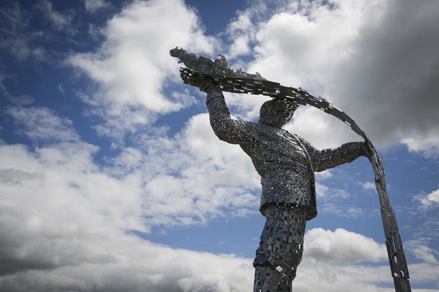 'Steel Man', the commemorative sculpture by Scottish artist Andy Scott, at Ravenscraig. Photograph © Colin McPherson, 2015 all rights reserved.
