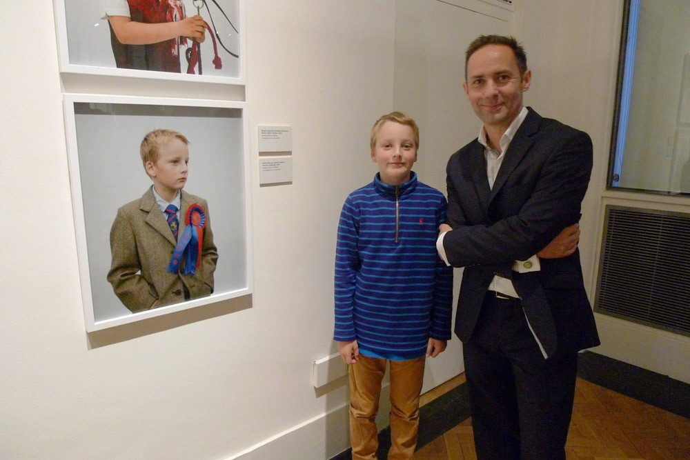 Calum Moffat (left) and Jeremy Sutton-Hibbert at Document Scotland's 'The Ties That Bind' exhibition, including 'Unsullied And Untarnished', at the Scottish National Portrait Gallery, in Edinburgh, Scotland, on Thursday, 24 September 2015.