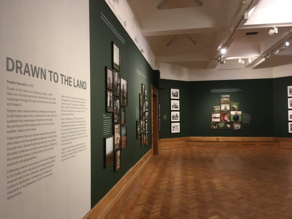 Installation shot of drawn to The Land at Perth Museum and Art Gallery. July 2019