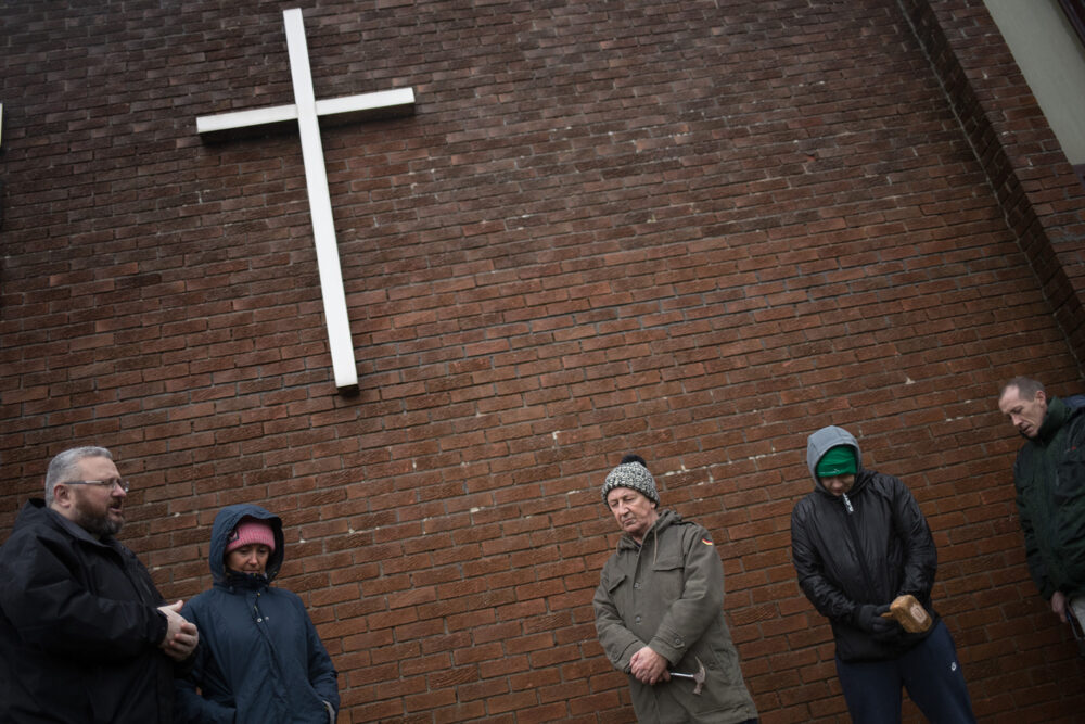 Prayers outside Springburn church in memory of those who lost life to drugs, Scotland.